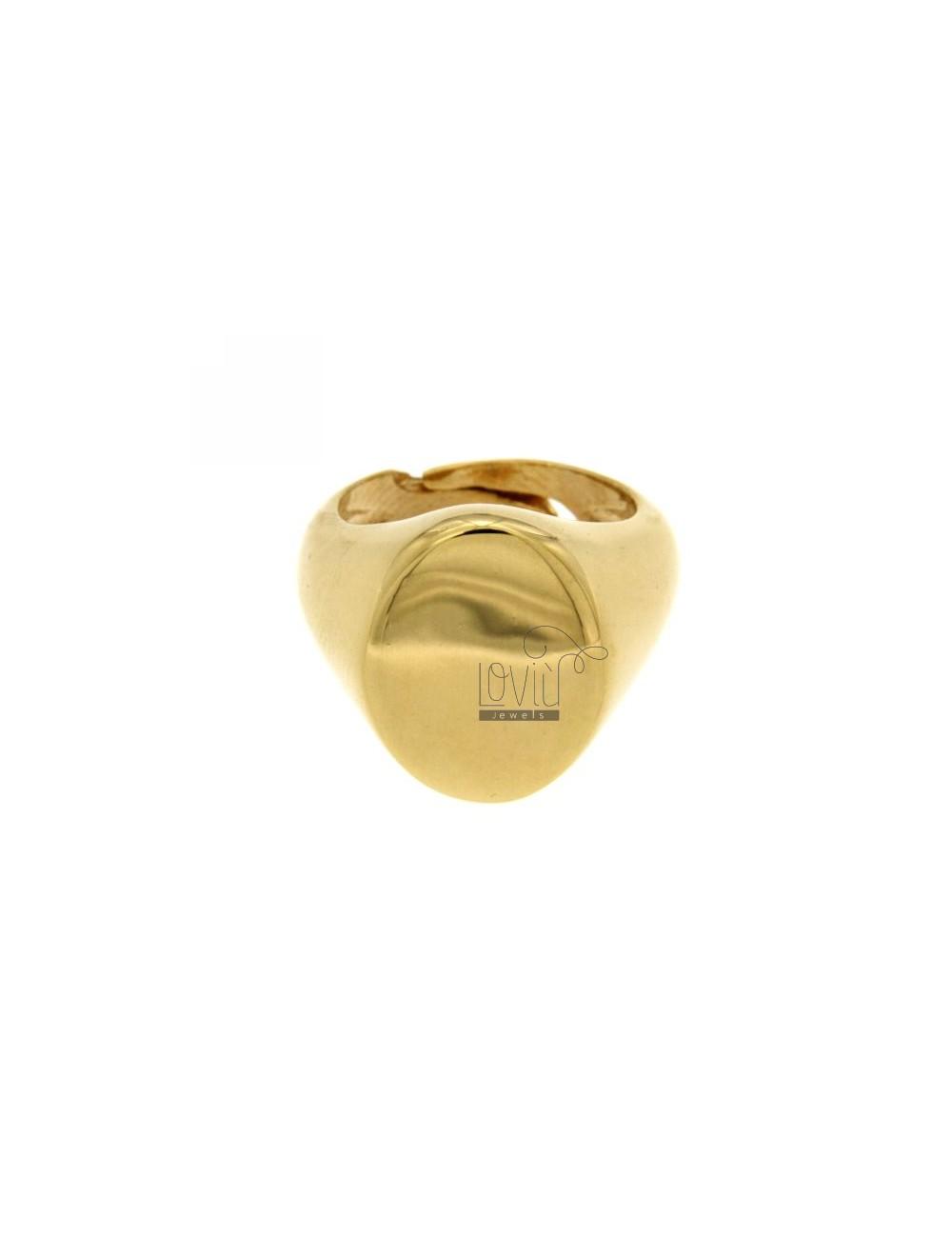 LITTLE FINGER RING ADJUSTABLE VERTICAL OVAL SILVER GOLD PLATED 925 ‰