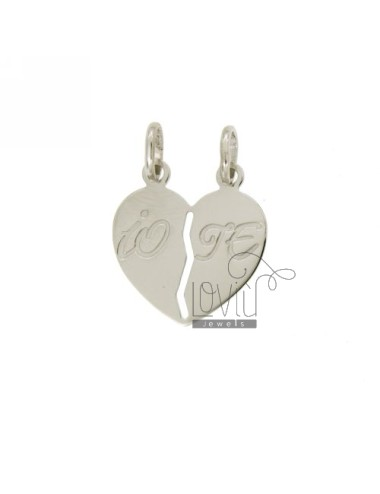 PENDANT HEART DIVIDED BY WRITTEN ME AND YOU INCISA SILVER 925 ‰ RODIATO