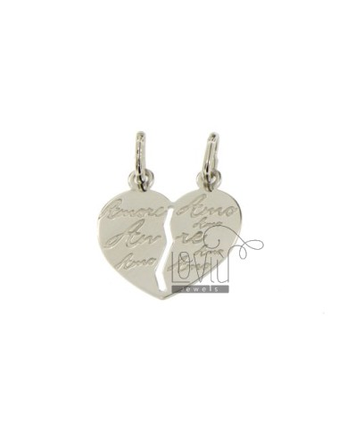 PENDANT HEART DIVIDED WITH LOVE WRITTEN ENGRAVED SILVER 925 ‰ RODIATO