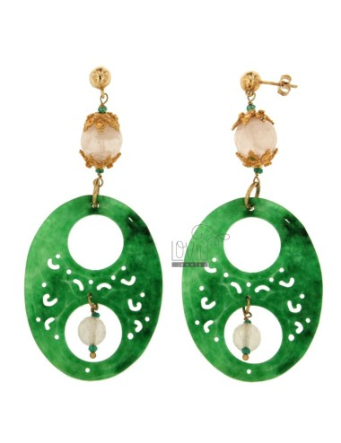 EARRINGS IN SILVER ROSE GOLD PLATED TIT 925 ‰ WITH STONES GREEN AND PINK