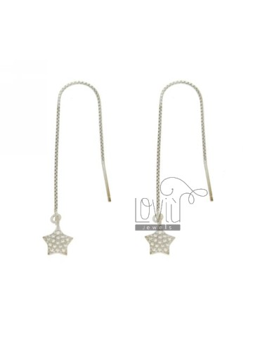 UP AND DOWN WITH EARRINGS PAVE STAR &39OF ZIRCONIA IN RHODIUM AG TIT 925