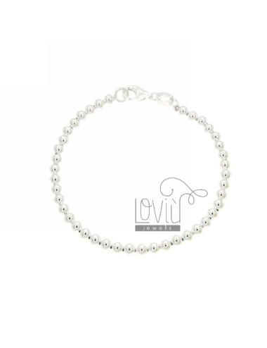 BRACELET BALL 4 MM SILVER 925 ‰ WITH CLOSURE