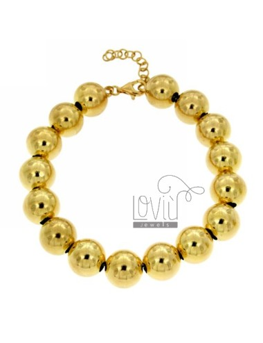 BRACELET BALL TO 12 MM SILVER GOLD PLATED 925 ‰ WITH CLOSURE