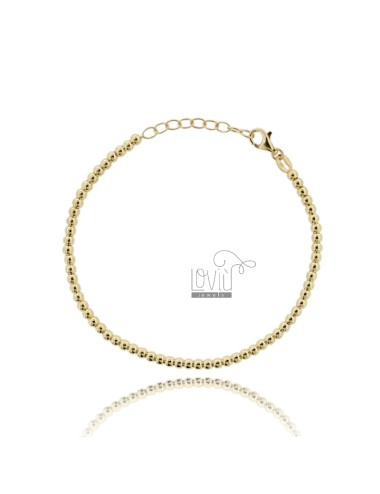 BALL BRACELET 3 MM SILVER GOLD PLATED 925 ‰ WITH CLOSURE