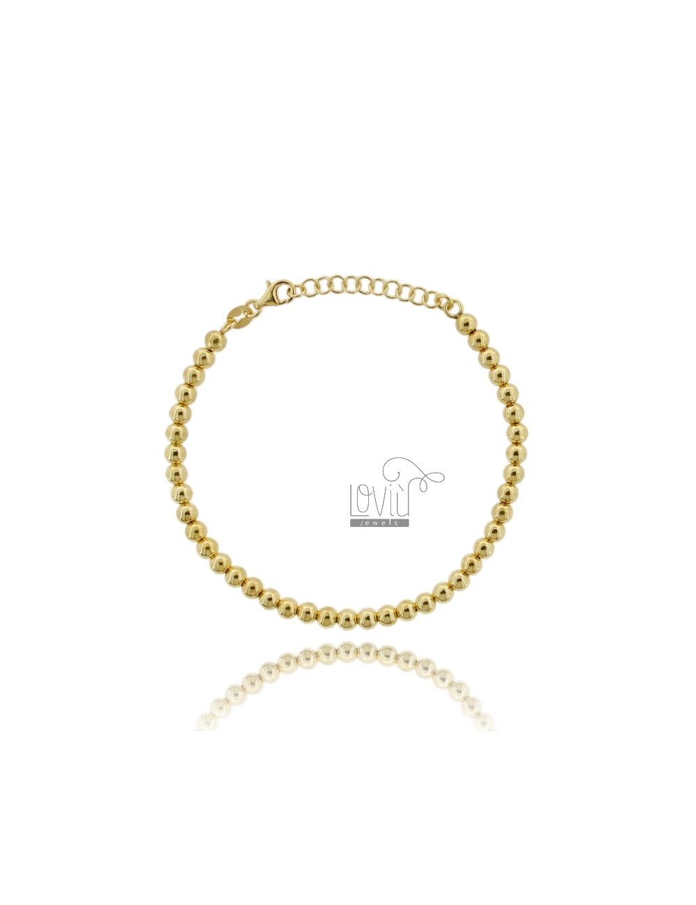 BRACELET BALL 4 MM SILVER GOLD PLATED 925 ‰ WITH CLOSURE