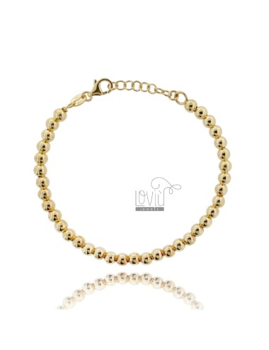 BRACELET SPHERES OF 5 MM SILVER GOLD PLATED 925 ‰ WITH CLOSURE