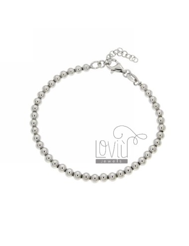 BRACELET BALL 4 MM SILVER RHODIUM 925 ‰ WITH CLOSURE