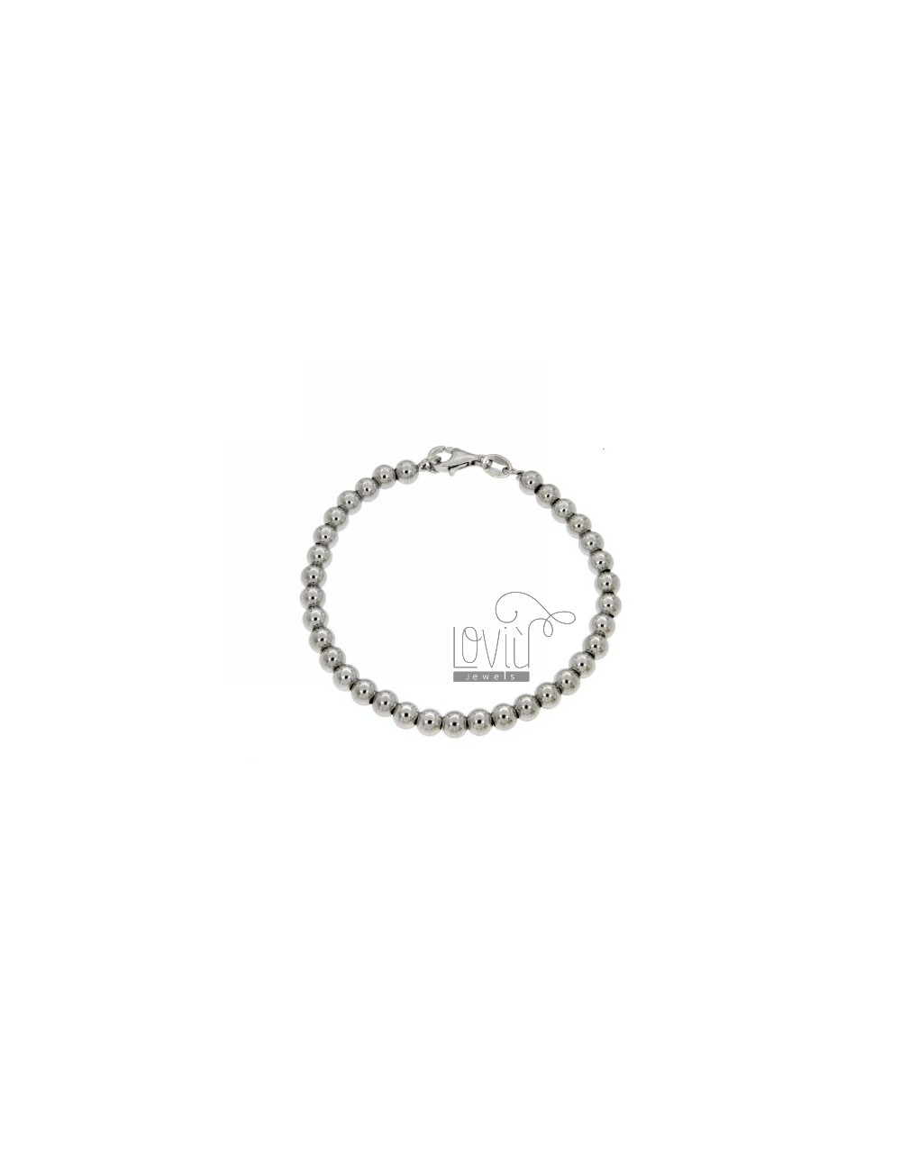 BRACELET SPHERES OF 5 MM SILVER RHODIUM 925 ‰ WITH CLOSURE