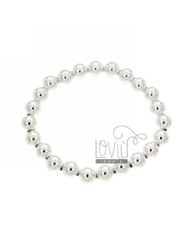 BRACELET WITH SPRING BALL 8 MM SILVER 925 ‰