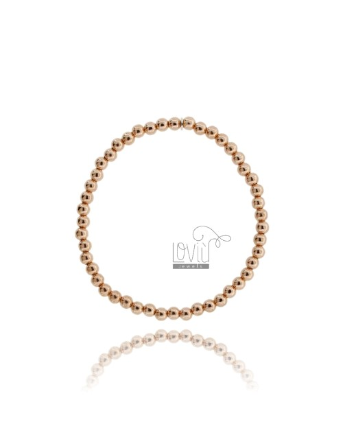 BRACELET WITH SPRING BALL 4 MM SILVER ROSE GOLD PLATED 925 ‰