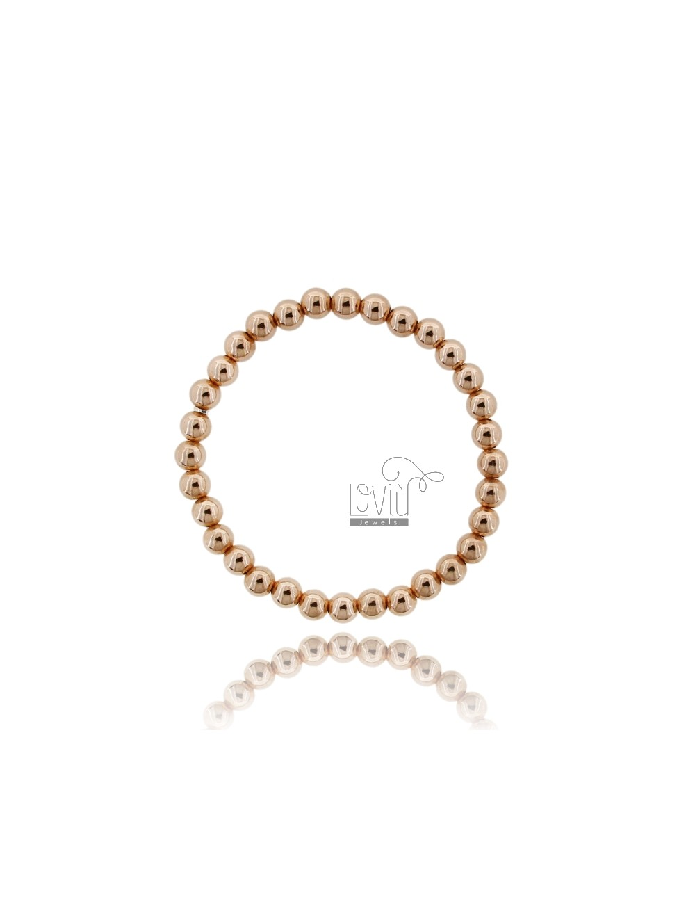 BRACELET WITH SPRING BALL 6 MM SILVER ROSE GOLD PLATED 925 ‰