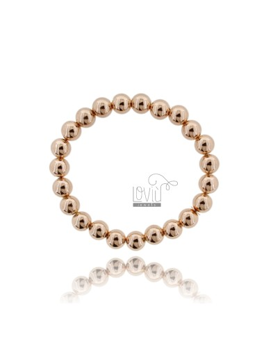 BRACELET WITH SPRING BALL 8 MM SILVER ROSE GOLD PLATED 925 ‰