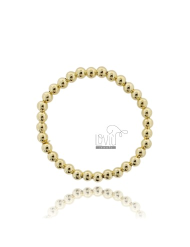 BRACELET WITH SPRING BALL 6 MM SILVER GOLD PLATED 925 ‰