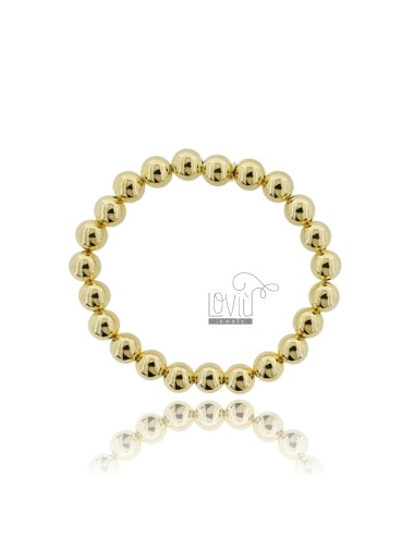 BRACELET WITH SPRING BALL 8 MM SILVER GOLD PLATED 925 ‰
