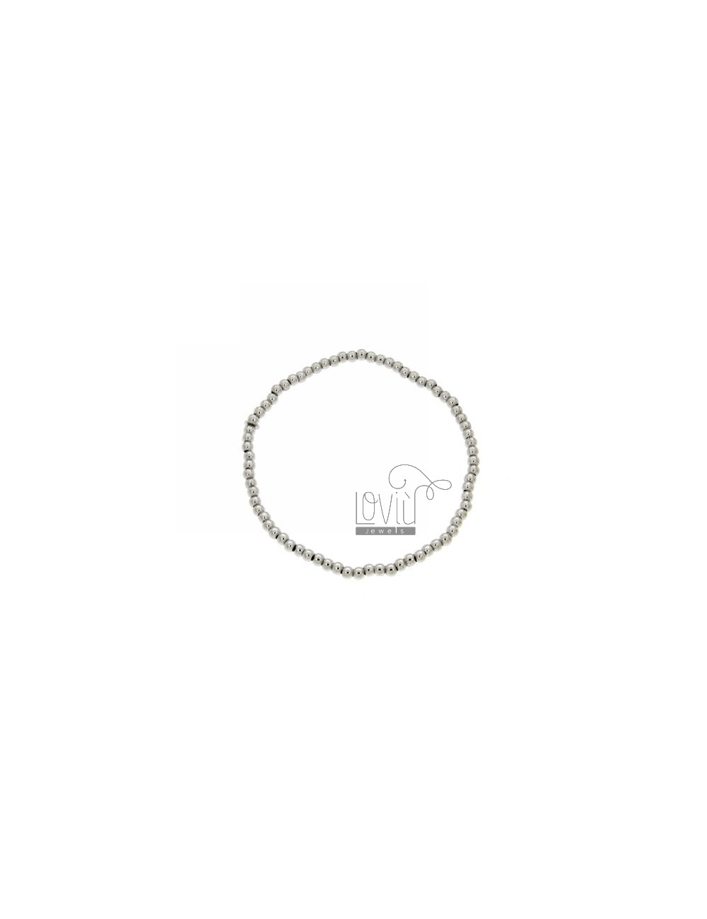 BRACELET WITH BALL SPRING 3 MM SILVER RHODIUM 925 ‰
