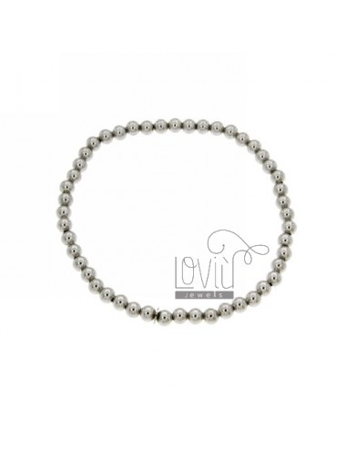 BRACELET WITH SPRING BALL 4 MM SILVER RHODIUM 925 ‰