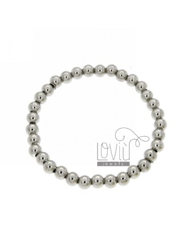 BRACELET WITH SPRING BALL 6 MM SILVER RHODIUM 925 ‰