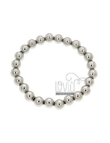 BRACELET WITH SPRING BALL 8 MM SILVER RHODIUM 925 ‰