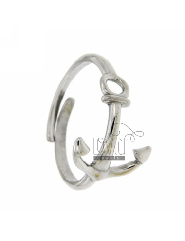 ADJUSTABLE RING WITH ANCHOR STYLISH SILVER 925 ‰
