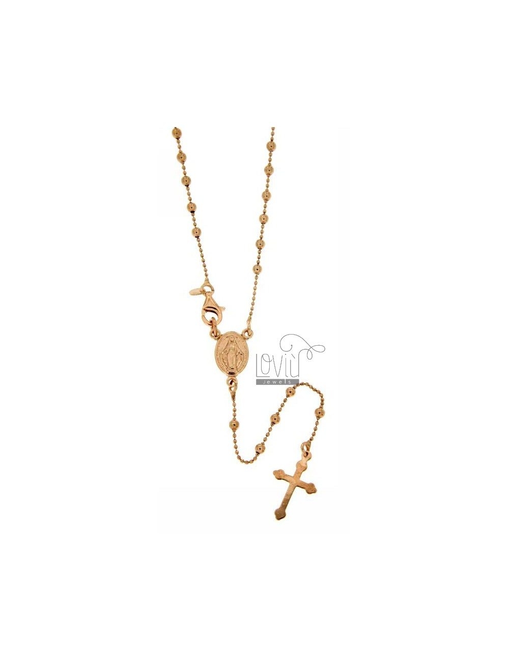 ROSARY BEAD CHAIN &8203&8203NECKLACE WITH SMOOTH BALL 2.5 MM 50 CM SILVER ROSE GOLD PLATED TIT 925