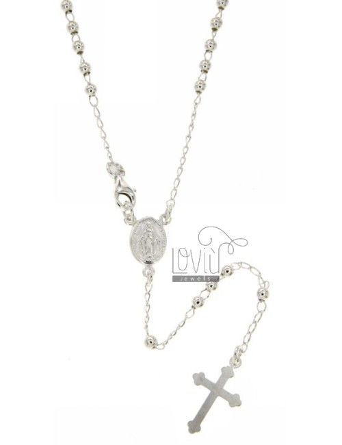 ROSARY NECKLACE WITH BALL 60 CM 3 MM SMOOTH SILVER TITLE 925