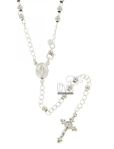 ROSARY BEAD NECKLACE WITH SMOOTH TO 4 CM 60 MM SILVER TITLE 925