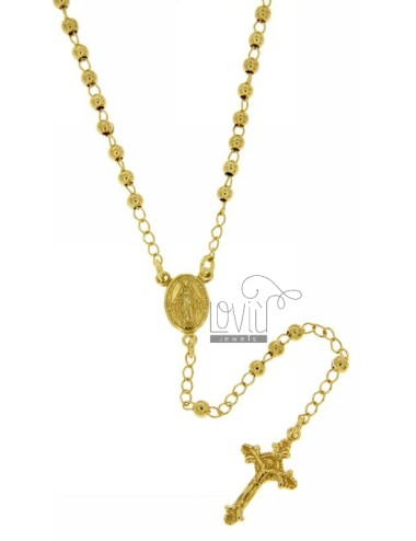ROSARY NECKLACE WITH SMOOTH BALL 38 CM 3 MM 925 TIT SILVER GOLD PLATED YELLOW