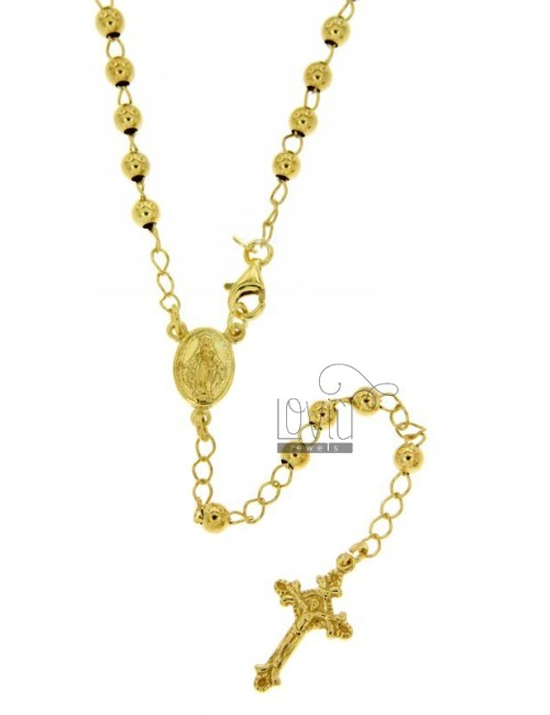 ROSARY BEAD NECKLACE WITH SMOOTH MM 4 CM 50 TIT SILVER 925 GOLD PLATED