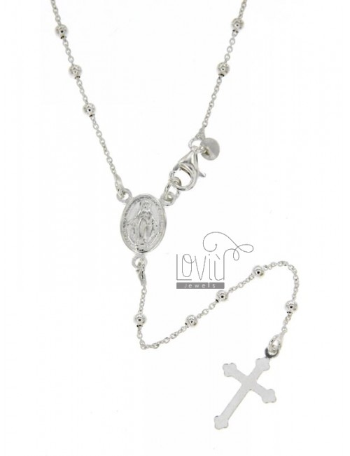 ROSARY NECKLACE WITH BALL FLAT CABLE 2.5 MM 50 CM SILVER TITLE 925