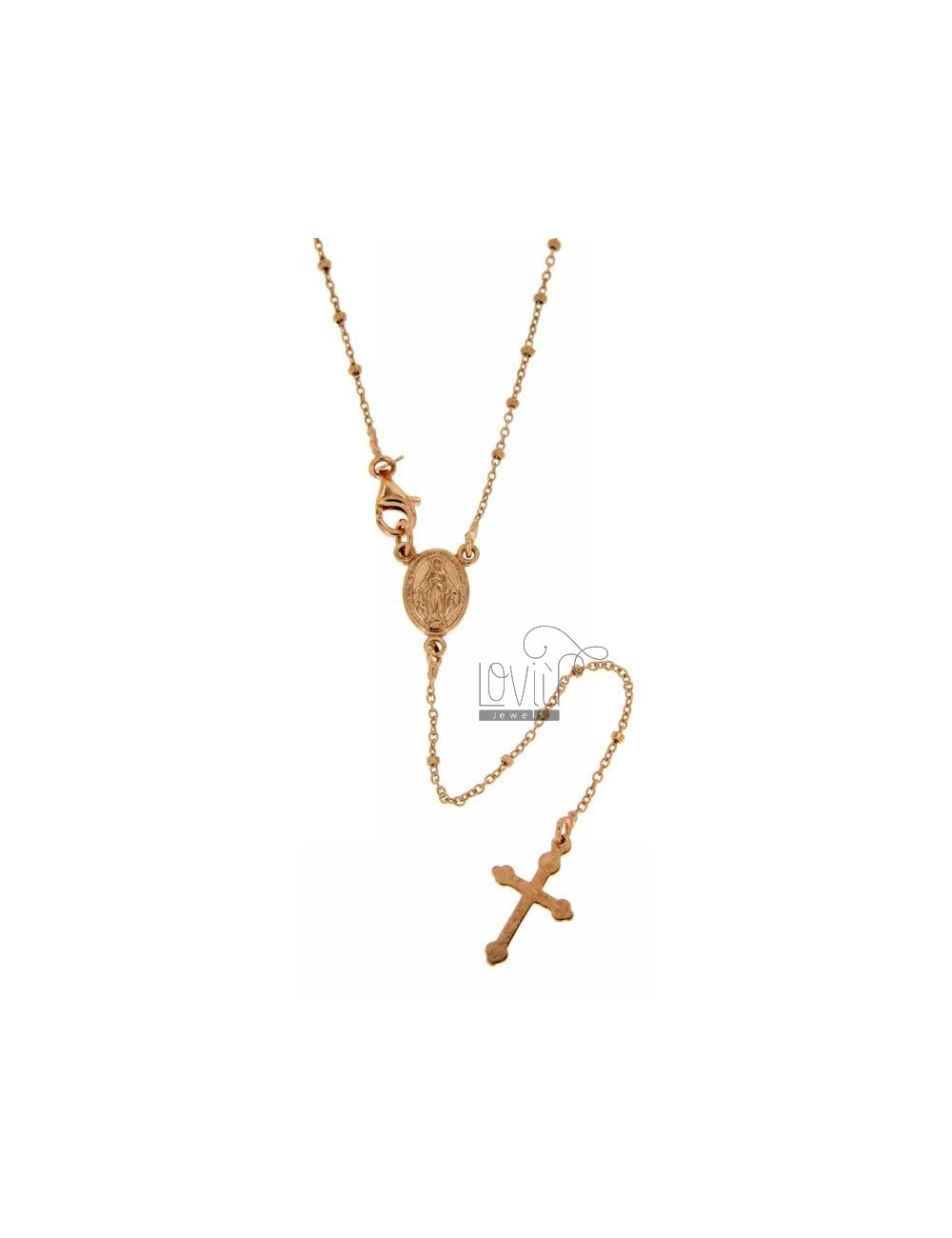 ROSARY NECKLACE WITH BALL FLAT CABLE 1.8 MM 45 CM SILVER ROSE GOLD PLATED TIT 925