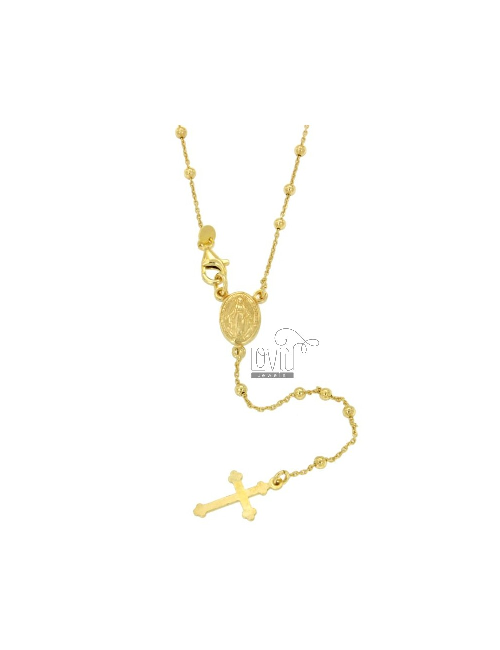 ROSARY NECKLACE CABLE WITH BALL 2.5 CM 45 MM SMOOTH SILVER TIT 925 ‰ GOLD PLATED YELLOW