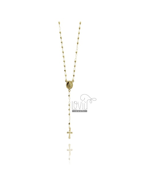 ROSARY NECKLACE WITH BALL faceted MM 60 CM 3 TIT 925 SILVER GOLD PLATED YELLOW