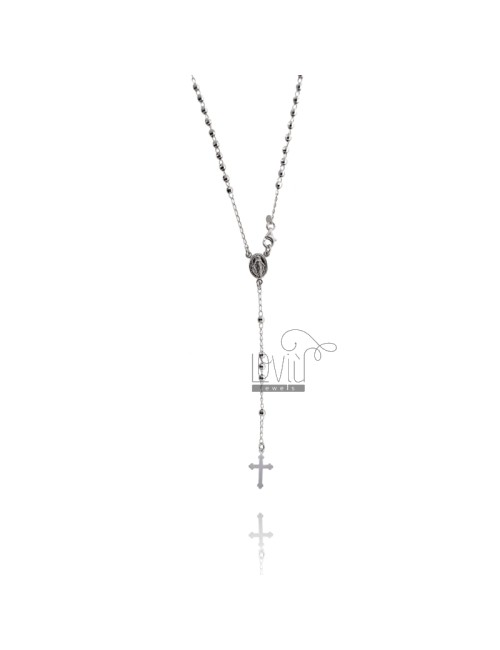 ROSARY NECKLACE WITH 3 MM MM 60 BALL IN RHODIUM SILVER 925 ‰