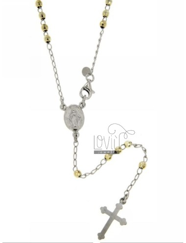 ROSARY NECKLACE WITH BALL facetted rhodium.plated 3 MM GOLD PLATED SILVER TIT GIALLOCM 45 925