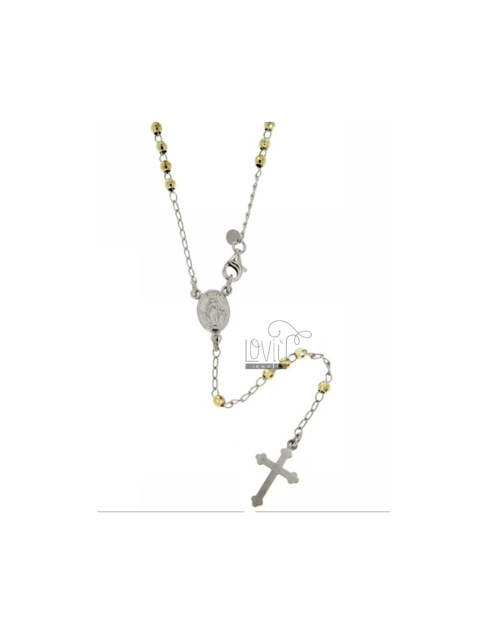 ROSARY NECKLACE WITH BALL facetted rhodium.plated 3 MM GOLD PLATED SILVER TIT GIALLOCM 50 925
