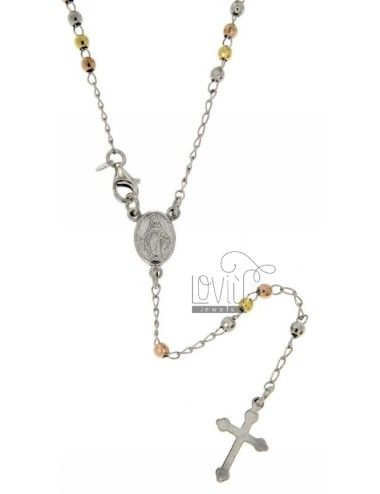 ROSARY NECKLACE WITH BALL faceted MM 3 RHODIUM PLATED, YELLOW AND ROSE GOLD SILVER 45 CM TIT 925