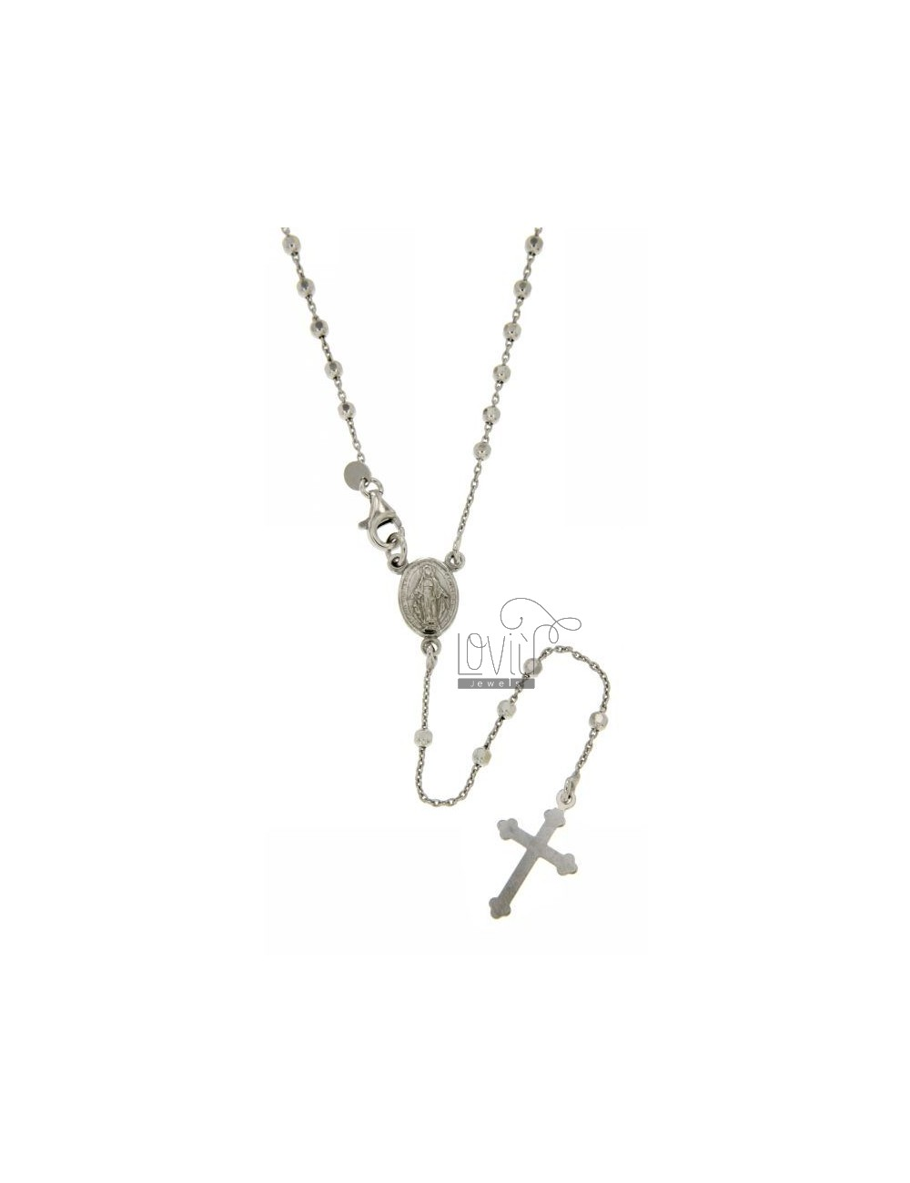 ROSARY NECKLACE WITH CABLE BALL faceted 2.5 MM 45 CM SILVER RHODIUM 925 ‰