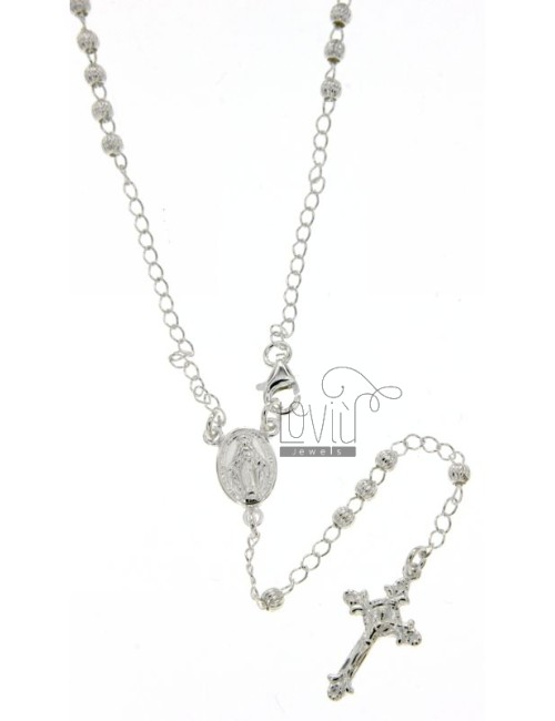 ROSARY NECKLACE WITH STRIPED BALL 45 CM 3 MM SILVER TITLE 925 ‰