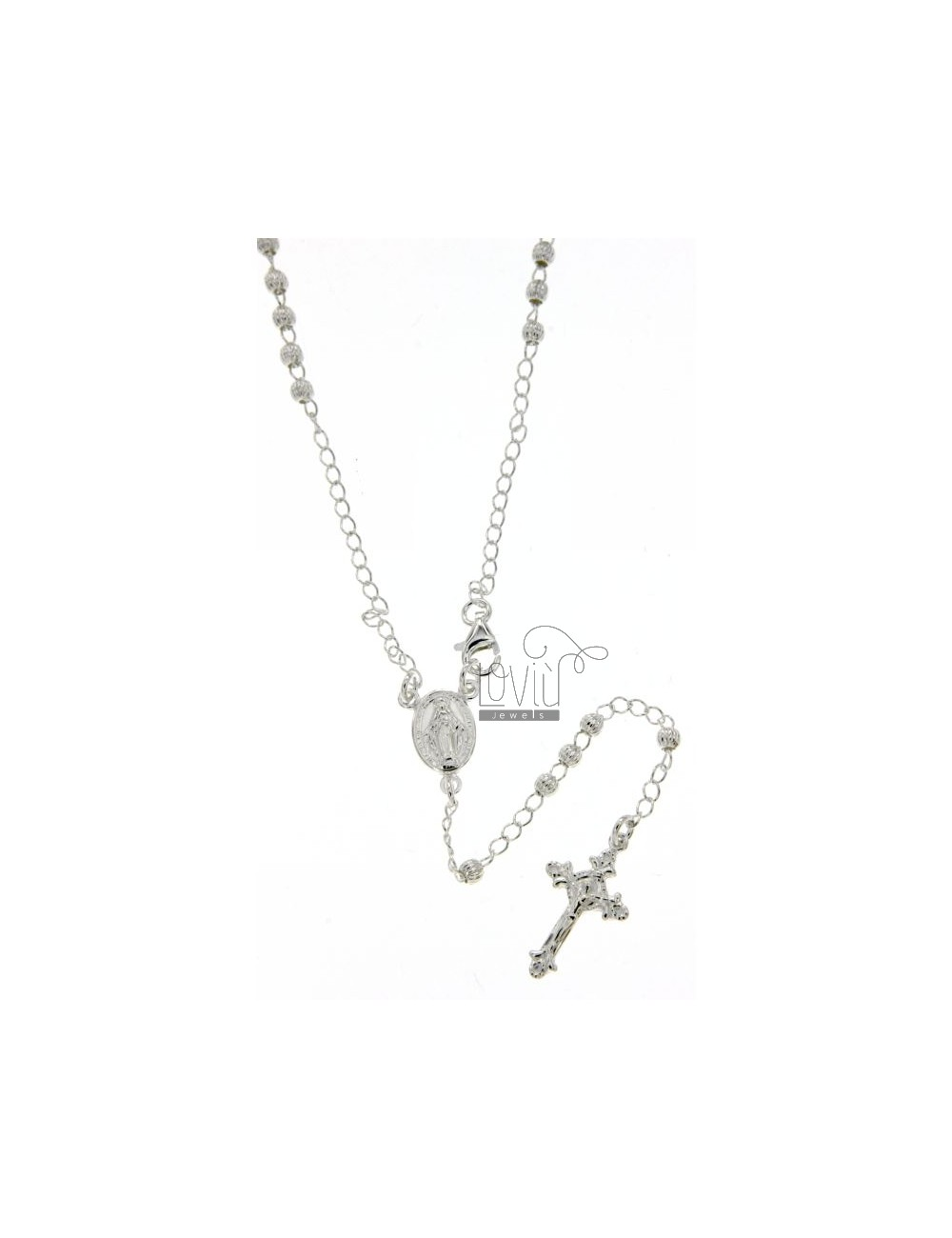 ROSARY NECKLACE WITH STRIPED BALL 60 CM 3 MM SILVER TITLE 925 ‰