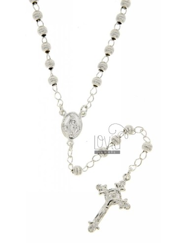ROSARY NECKLACE WITH STRIPED BALL TO 4 CM 42 MM SILVER TITLE 925 ‰