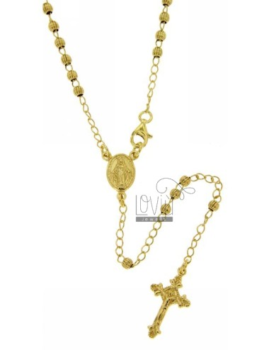 ROSARY NECKLACE WITH STRIPED BALL 60 CM 3 MM 925 ‰ RHODIUM SILVER GOLD PLATED