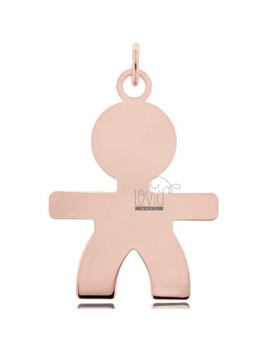 A BOY PENDANT SLAB MIS 5X3, 60 SILVER ROSE GOLD PLATED 925 ‰