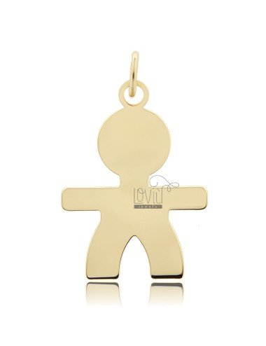A BOY PENDANT SLAB MIS 4,0 X2, 8 SILVER GOLD PLATED 925 ‰