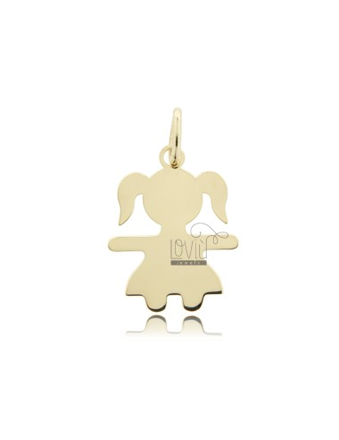 A GIRL PENDANT SLAB MIS 2.6 X2, 0 SILVER GOLD PLATED 925