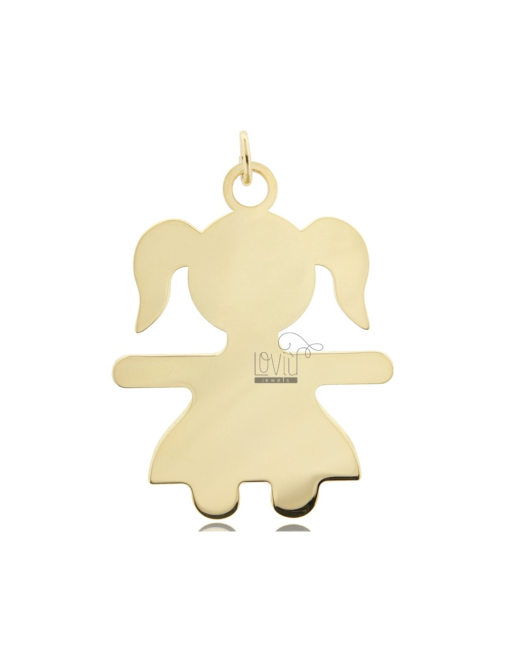 A GIRL PENDANT SLAB MIS 6,0 X4, 5 SILVER GOLD PLATED 925