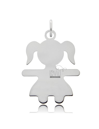 CHARM GIRL A SHEET MIS 4,0X3,0 SILVER RHODIUM 925 ‰