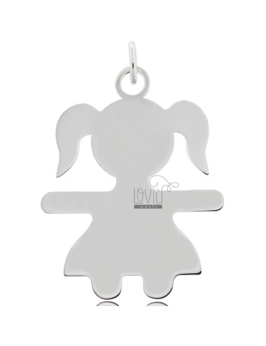 CHARM GIRL A SHEET MIS 5,0X3,8 SILVER RHODIUM 925 ‰