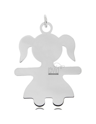 CHARM GIRL A SHEET MIS 6,0X4,5 SILVER RHODIUM 925 ‰