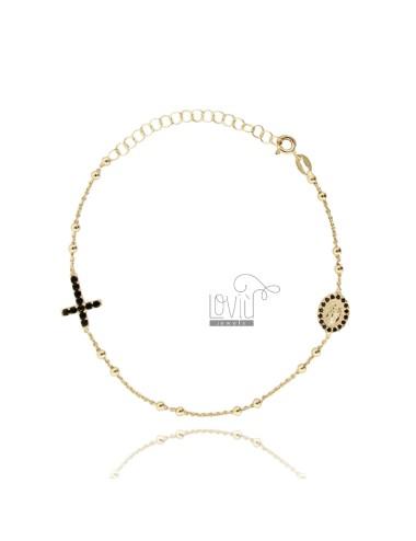 Pulsera de rosario con cruz...