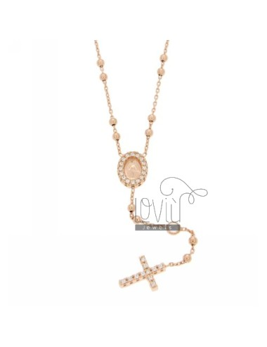COLLIER CROWN ROSE GOLD PLATED SILVER CROSS WITH TIT 925 ‰, MADONNA AND PARTITIONS IN ZIRCONIA WHITE